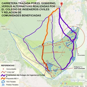 Mapa Tipnis + Alternativas al trazo carretero